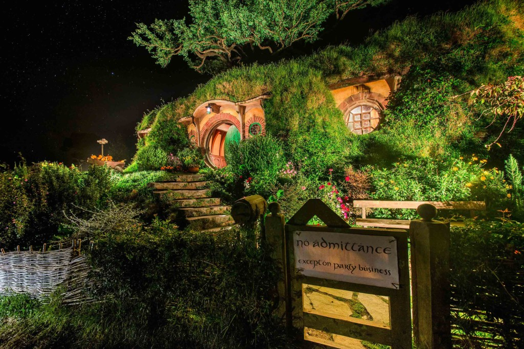 Hobbiton Bag End at Night